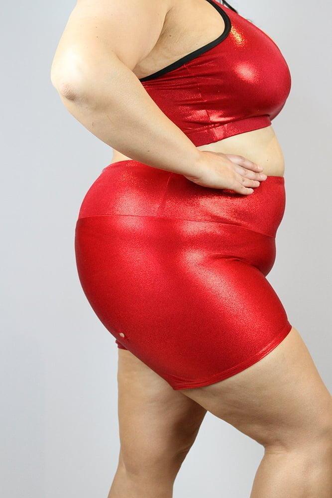 Red Sparkle Gym Short - Plus Size