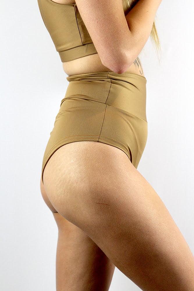 Rarr designs Caramel SUPER High Waisted BRAZIL Scrunchie Bum Shorts