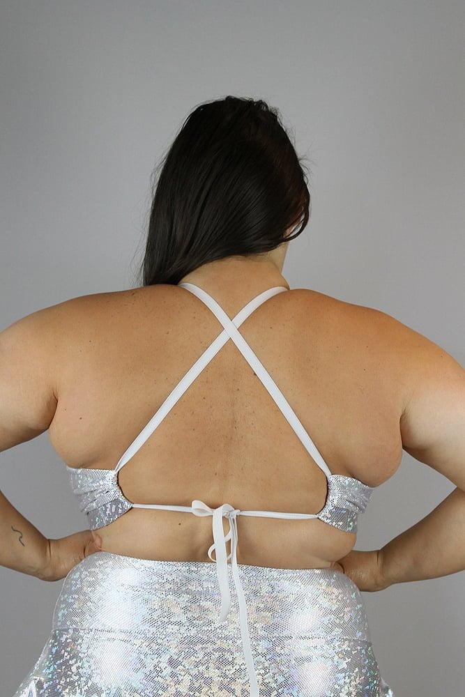 White Sparkle Bikini Bra - Plus Size