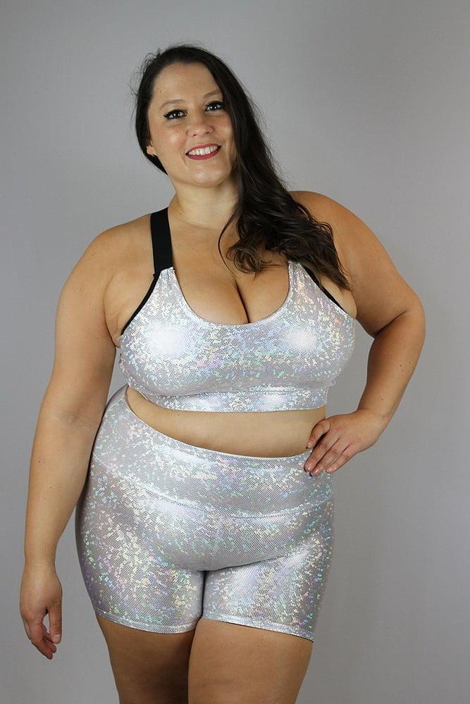White Sparkle Gym Short - Plus Size