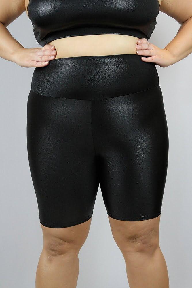 Black Sparkle Bike Short - Plus Size
