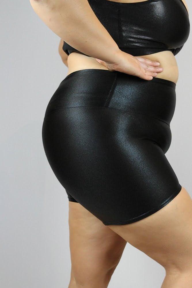 Black Sparkle Gym Short - Plus Size