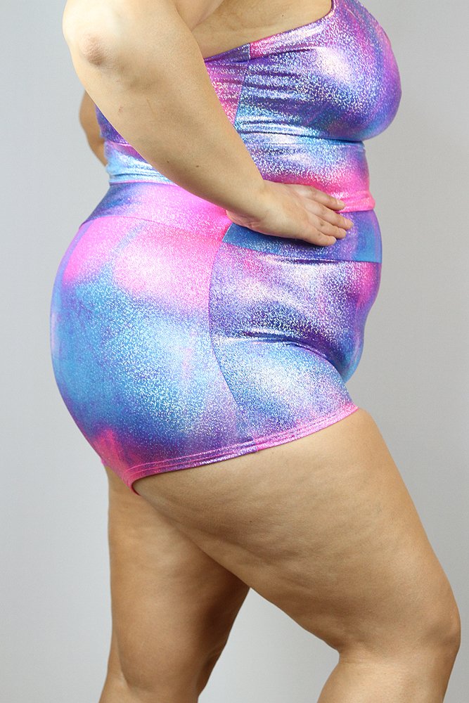 Candy Sparkle High Waisted Cheeky Shorts - Plus Size