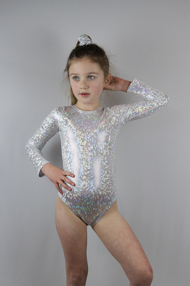 White Sparkle Leotard/One Long Sleeve Piece Youth Girls