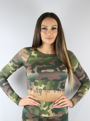 Rarr designs Camouflage Long Sleeve Crop Tee