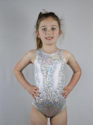 White Sparkle Leotard/One Sleeveless Piece Youth Girls