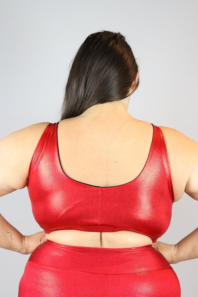 Red Sparkle Sweet Scoop Sports Bra - Plus Size