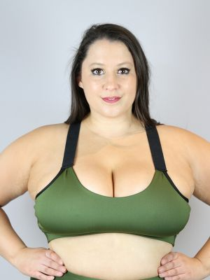 Olive V Sports Bra - Plus Size