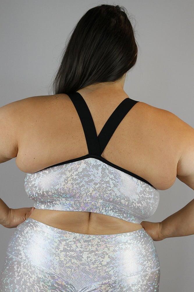 White Sparkle V Sports Bra - Plus Size