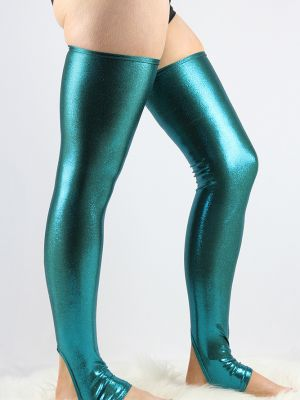 Royal Blue Sparkle Extra long Stirr-up Spandex Legwarmers/ Knee High Socks