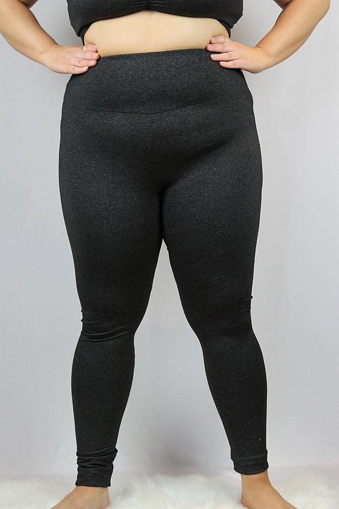 Dark Grey Marle Full Length Leggings/Tights - Plus Size