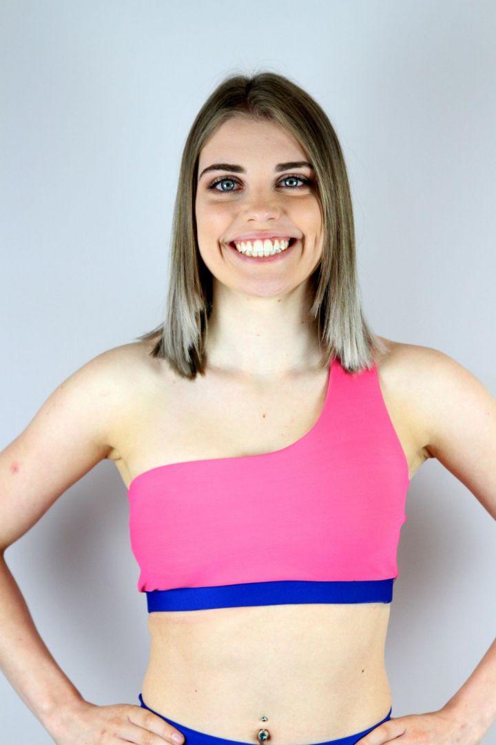 Bubblegum One Shoulder Sports Bra