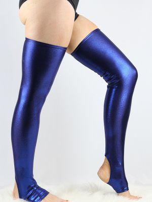 Navy Sparkle Extra long Stirr-up Spandex Legwarmers/ Knee High Socks