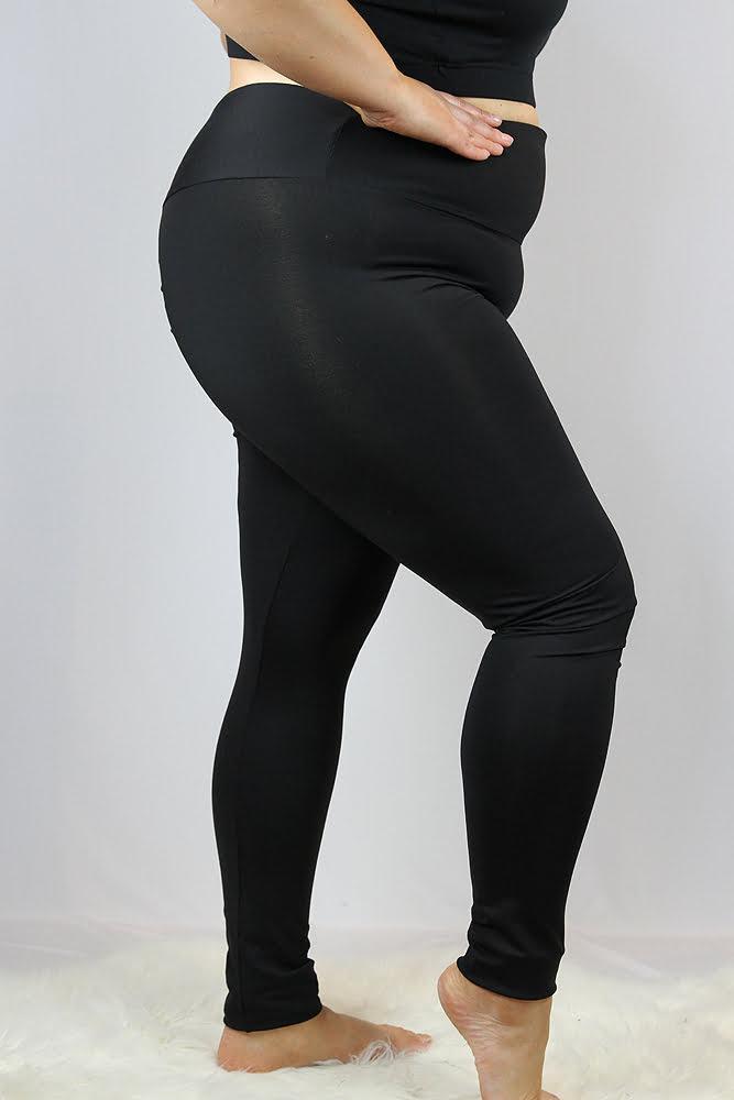 Rarr designs Matte Black Full Length Leggings/Tights - Plus Size