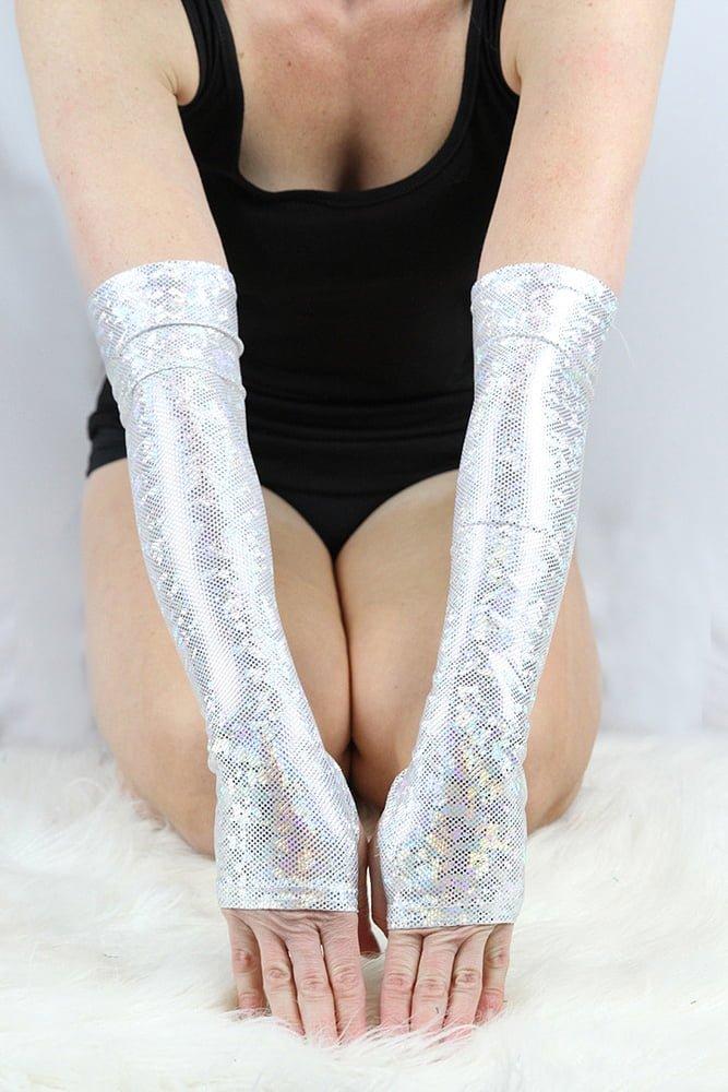 White Sparkle Extra long Stirr-up Spandex Fingerless Gloves
