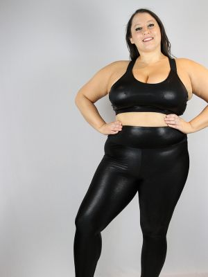 Rarr designs Black Sparkle Full Length Leggings/Tights - Plus Size