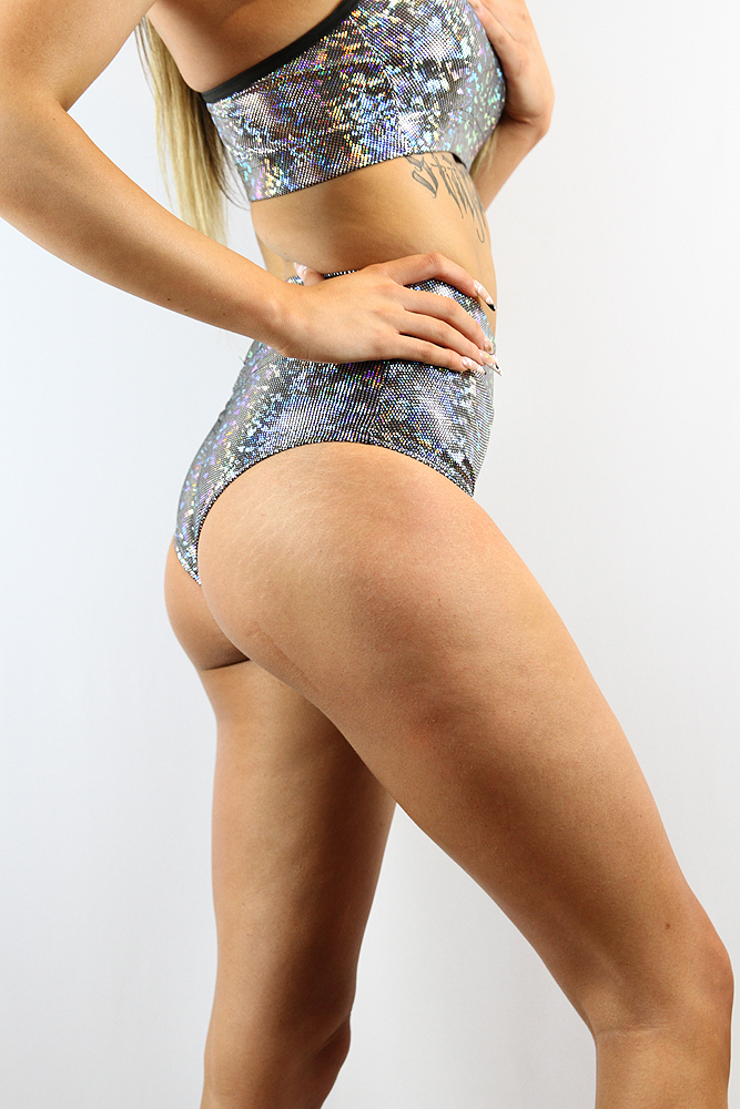Rarr Designs Silver Sparkle High Waisted BRAZIL Scrunchie Bum Shorts